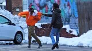 Throwing Snowballs At People Prank Part 4