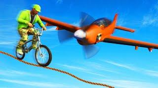 MILE HIGH PLANES vs. BMX TIGHTROPERS! (GTA 5 Funny Moments)