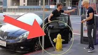 HANDCUFFING CAR TO FIRE HYDRANT PRANK!!! (Bad Parking Revenge!)