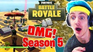 NINJA REACTS to *NEW* SEASON 5 in FORTNITE! | Fortnite Funny Moments, Glitches , Clutches & Bugs