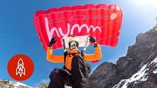 Base Jumping + Mountain Skiing = Extreme Ski-Base Jumping