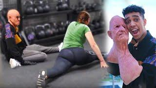 Old Man VS Gymnasts (Fake Grandpa GYM Prank)