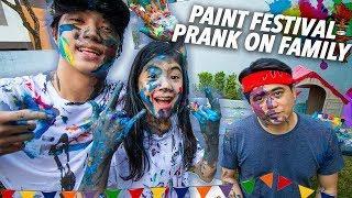 PAINT FESTIVAL PRANK ON FAMILY!! (Sinulog) | Ranz and Niana