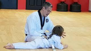 Tae Kwon Do Master And four Year Old Training Class Hiyaaa!!!!