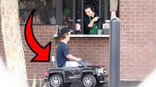 TOY CAR IN THE DRIVE THRU PRANK!!