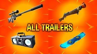 Fortnite All *NEW ITEM* Trailers (Suppressed Sniper Rifle, BoomBox, HoverBoard)