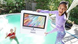 iMac COMPUTER IN THE SWIMMING POOL PRANK!