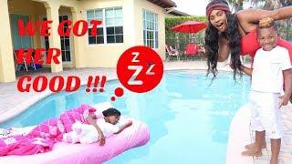 Yaya Wakes Up In The Swimming Pool Prank