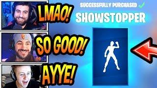 """STREAMERS REACT TO *NEW* """"SHOWSTOPPER"""" EMOTE/DANCE! *RARE* Fortnite SAVAGE & FUNNY Moments"""
