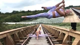 Extreme sports. 30 meters high bridge acrobatics for flexmonkey_polewear.