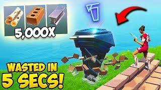 *NEW RECORD* Wasting 5000 Materials in 5 seconds! - Fortnite Funny Moments! #533