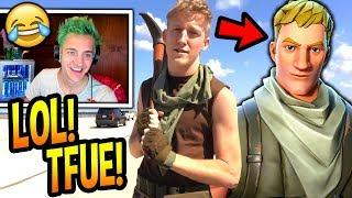 "NINJA REACTS TO TFUE'S ""DEFAULT SKIN"" COSPLAY IRL! (CRINGEY) Fortnite FUNNY & SAVAGE Moments"