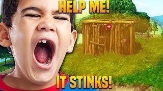 TRAPPING ANGRY KID WITH *NEW* STINK BOMB ON FORTNITE! Funny Fortnite Trolling