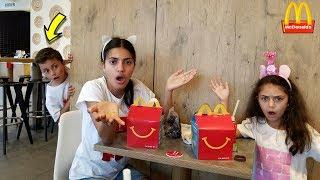 McDonalds Happy Meal Surprise Toys Prank ! Kids Pretend Play