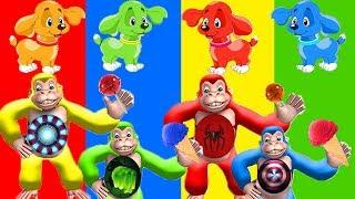 learn colors with wrong colored ice cream candy & funny monkeys toys video for kids wrong heads hero