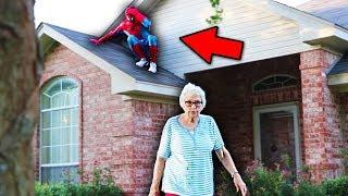 SPIDERMAN DING DONG DITCH PRANK! (CLIMBING ON HOUSES????)
