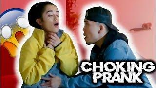 CHOKING PRANK!!! *HE FREAKED OUT*