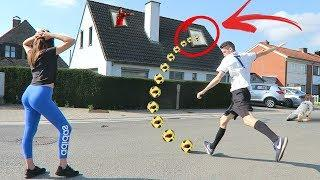 EXTREME SHOOTING TO MY HOUSE FOOTBALL CHALLENGE!!!