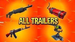 Fortnite All *NEW ITEM* Trailers (Pump Shotgun, TNT Bundle, Mounted Turret, Heavy AR)