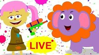 Missing Face With Animals | Funny Faces Paintball Finger Family Song For Kids LIVE STREAMING