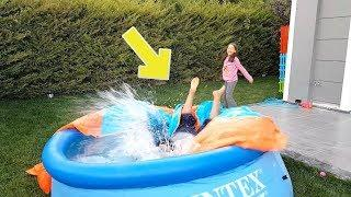 Babamı Havuza İttim i Pushed My Dad into The Pool - Prank Funny Kid!