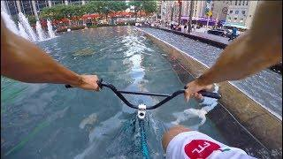RIDING BMX in NYC WATER FOUNTAINS 2!