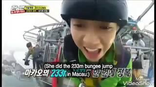 Bungee jumping , Nevis Swing,  Paragliding,  Extreme sports performed by Jihyo Running man