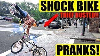ELECTRIC SHOCK Bait Bike Pranks!! THIEVES ZAPPED!!!