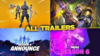 ALL FORTNITE TRAILERS! ALL 38 FORTNITE BATTLE ROYALE TRAILERS! (Season 1 - Season 6)