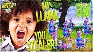 STEALING EVERY LOOT LLAMA FROM ANGRY KID ON *NEW* PLAYGROUND MODE (Funny Fortnite Trolling)