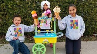Kids Pretend Play with Ice Cream Cart Toys funny kids video