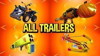 Fortnite All *NEW ITEM* Trailers (Quad Crasher, Pumpkin Launcher, Quad Launcher)