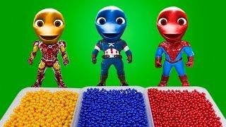 Learn Colors with Spiderman and Hulk | funny balls Superheroes toys  | Alien dance for Kids