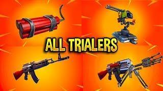 Fortnite All *NEW ITEM* Trailers (Heavy AR, Mounted Turret, TNT Bundle)