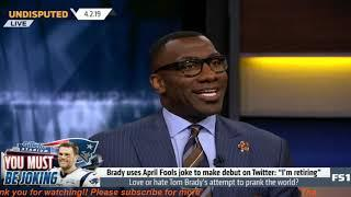 """Shannon BOOED """"Love or hate Tom Brady's attempt to prank the world on April Fools joke?""""