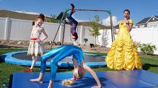 Barbie GYMNASTICS CHALLENGE pt 2! vs Disney Princesses and Funny Superheroes kids video w/ spiderman