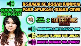 NGAMUK KE SQUAD RANDOM PAKE SUARA CEWE SAMPE EMOSI! + PRANK BOM MOBIL - PUBG MOBILE FUNNY MOMENTS #7