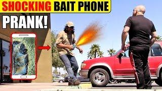 ELECTRIC SHOCK Bait Phone Prank!! BUSTED & SHOCKED!!!