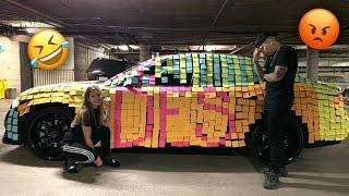 STICKY NOTE P.R.A.N.K ON BOYFRIENDS CAR!!! (HE GOT SO UPSET)