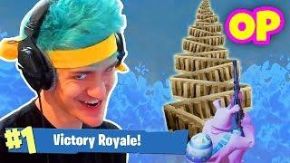 NINJA WINS USING OVERPOWERED SKY BASE TRICK! Fortnite Funny & Savage Moments & Twitch Highlights!