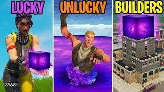 ALIEN CUBE IN TILTED TOWERS!? LUCKY vs UNLUCKY vs BUILDERS - Fortnite Funny Moments (Battle Royale)