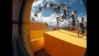 Extreme sport sport bikeCycling on the mountainBicycle mountain parkour first person perspective