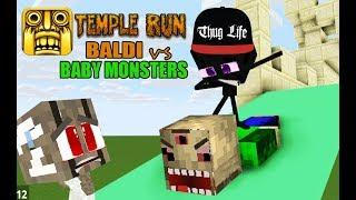 Monster School : BALDI FUNNY TEMPLE RUN CHALLENGE (PART 7) - BABY MONSTERS AND GHOSTS