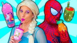 Spiderman Funny Cups Prank! With Frozen Elsa & Anna ❤ Superheroes In Real Life