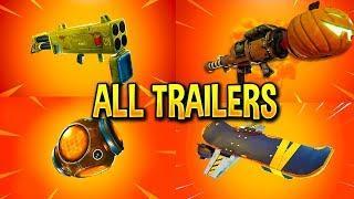 Fortnite All *NEW ITEM* Trailers (Quad Launcher, Pumpkin Launcher, Port-A-Fortress)
