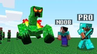 Minecraft Noob vs. Pro vs. GIANT CREEPER MUTANT challenge - funny Minecraft Battle