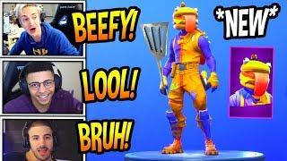 """STREAMERS REACT TO *NEW* """"BEEF BOSS"""" SKIN *EPIC* Fortnite FUNNY & SAVAGE Moments"""