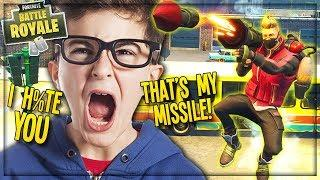"""STEALING *NEW* """"GUIDED MISSILE"""" FROM ANGRY KID IN FORTNITE FLY EXPLOSIVES! (Funny Fortnite Trolling)"""