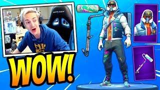 NINJA REACTS TO *NEW* ABSTRAKT SKIN + RENEGADE ROLLER! *EPIC* Fortnite FUNNY & SAVAGE Moments