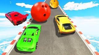 SUPERCAR Hillclimb vs. BOWLING BALLS! (GTA 5 Funny Moments)